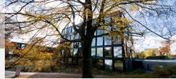 Die Fenster des Zentralen Institutsgebäudes spiegeln die umliegende herbstliche Landschaft wider.